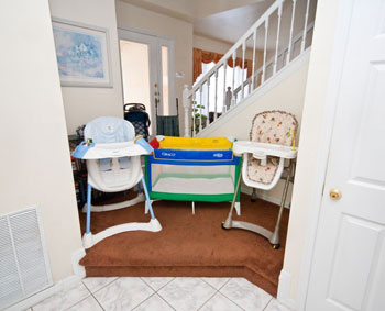Crib, high chair and strollers